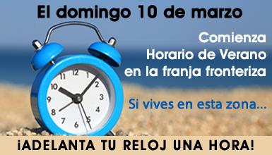 Marzo 09, 2019: Inicia el Horario de Verano 2019 de la franja fronteriza norte el próximo domingo